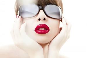 Glamour portrait in blue sunglasses