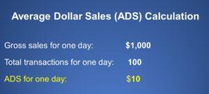 average dollar sale